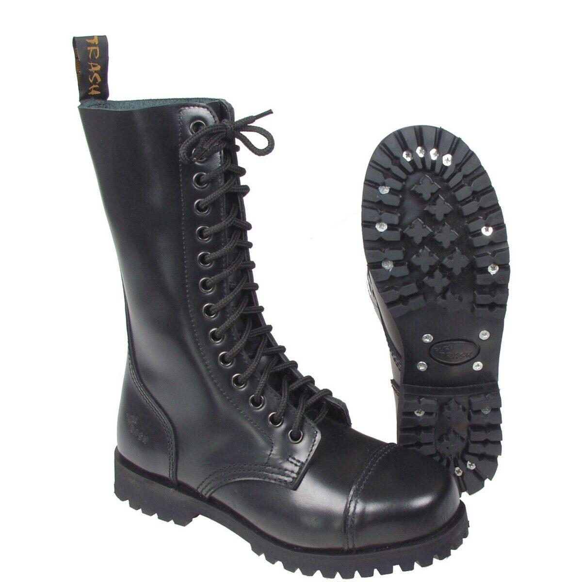 Pur Trash 14 agujeros botas zapatos botas Gothic imperial Style UK negro nuevo