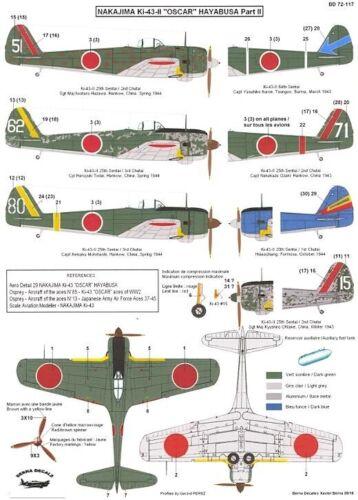 Berna Decals 1//72 NAKAJIMA Ki-43-II HAYABUSA OSCAR Japanese Fighter Part 2