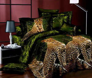 Brand-New-King-Bed-Quilt-Doona-Cover-5-Piece-Set-Leopards