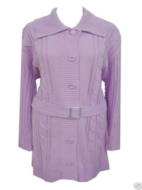 WOMENS NEW SIZE 16 18 20 LONG KNITTED LILAC CARDI REMOVABLE BELT CLEARANCE SALE