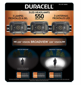 3 PACK HEADLIGHTS 9 MODES Duracell 1600263 550 Lumens LED Headlamps 3 Pieces