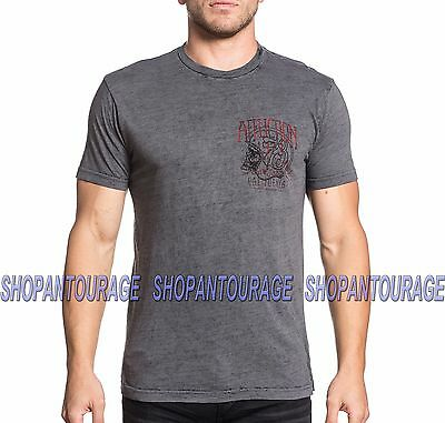 Amiable Affliction Ac Four Stroke A16825 New Graphic Fashion S/s Grey T-shirt For Men Shirts Clothing, Shoes & Accessories
