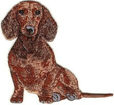 """2 7/8"""" x 3"""" Sitting Dachshund Dog Breed Embroidered Patch"""