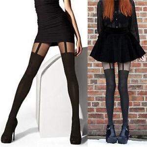 Women Girls Fashion Mock Suspender Tights Pantyhose Stockings Sheer