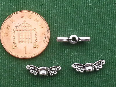 20 Fairy or Angel Wings - antique - Charms Spacer beads - BUY 4 GET 1 FREE
