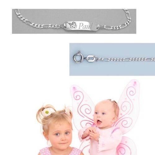 Taufe Paten Geschenk Schutzengel Baby Armband mit Name Datum Gravur Silber 925