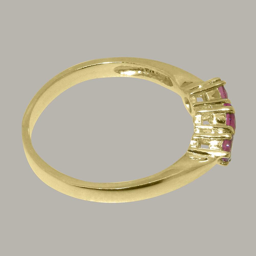 Solido 14ct 14ct 14ct oro giallo tormalina rosa naturale Anello da donna della trilogia 28ea39