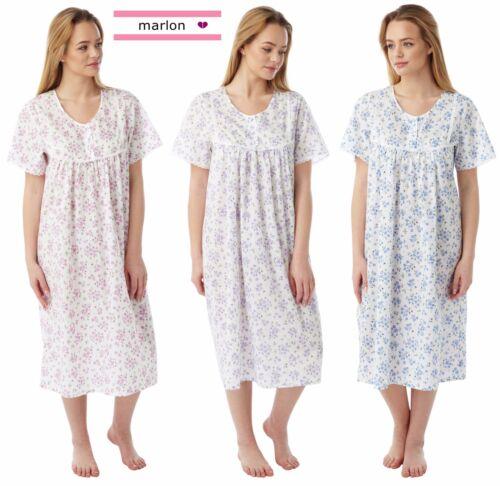 Ladies Poly Cotone Floreale Sprig Lungo Manica Corta Camicia Da Notte Taglie 10-30