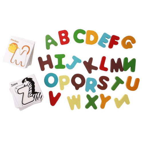 Wooden ABC Letters Alphabet 123 Numbers Puzzle Childrens Kids