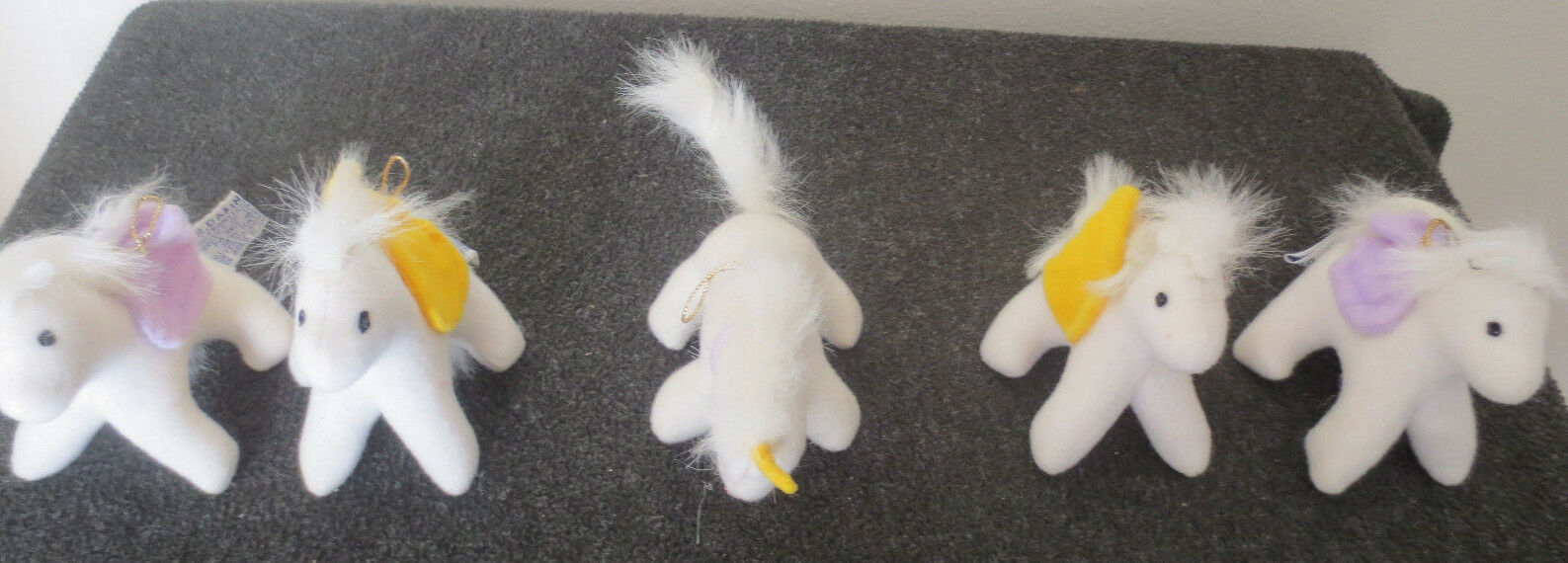 Lot of 5 1982 Dakin Plush Stuffed Toy Ornaments,  Pegasus & One Unicorn   3 1/2