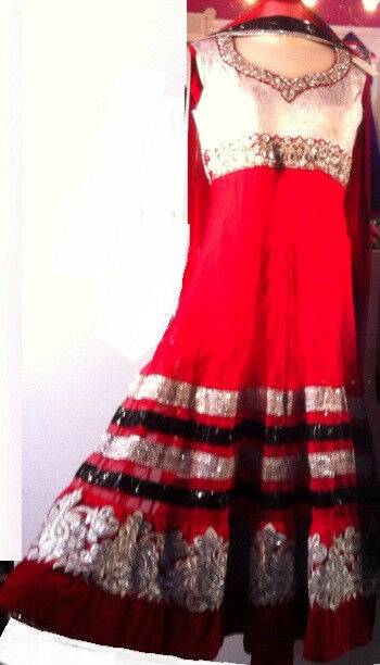 Vestido de Boda diseñador anarkali Indio Paquistaní Vestido Rojo  Baile Fiesta  tienda de bajo costo