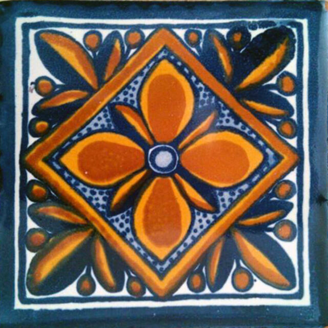 #C068 GET MANY AS YOU NEED !! Mexican Tile sample Ceramic Handmade 4x4 inch
