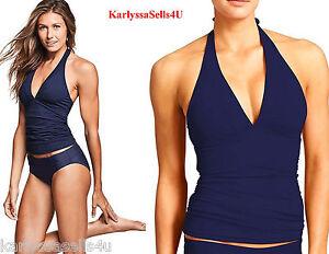 Athleta High Neck Tie Back Tankini Top-Dress Blue-M-NWOT