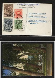 Bolivia , Cochabamba Zeppelin flight post card to Germany MS0810