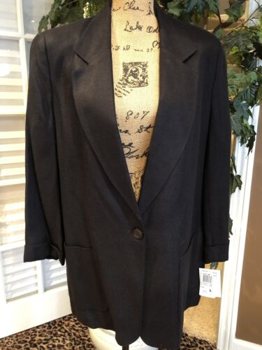 Women's Black Fully Lined Linen And Rayon Blazer By KGR Size L