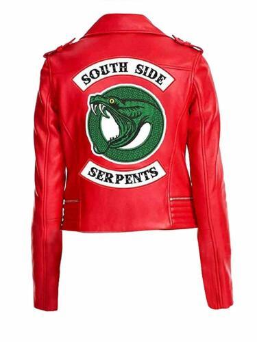 Womens Southside Serpents Riverdale Slim Fit Biker Red Leather Jacket