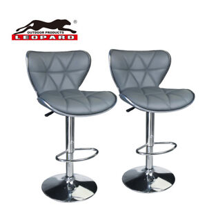 Magnificent Details About Leopard Shell Back Adjustable Swivel Bar Stools With Back Set Of 2 Grey Pabps2019 Chair Design Images Pabps2019Com