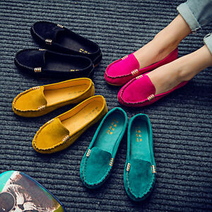 Women-Moccasin-Suede-Slip-On-Flat-Loafers-Lady-Casual-Ballerina-Ballet-Shoes-US
