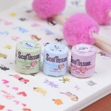 3Pcs Roll of bathroom tissue toilet paper 1:12 dollhouse miniature toy CP9