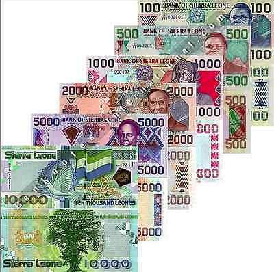 2000 5000,10000 Leones 2013-2018 UNC Sierra Leone : 1000 Set of 4 Banknotes