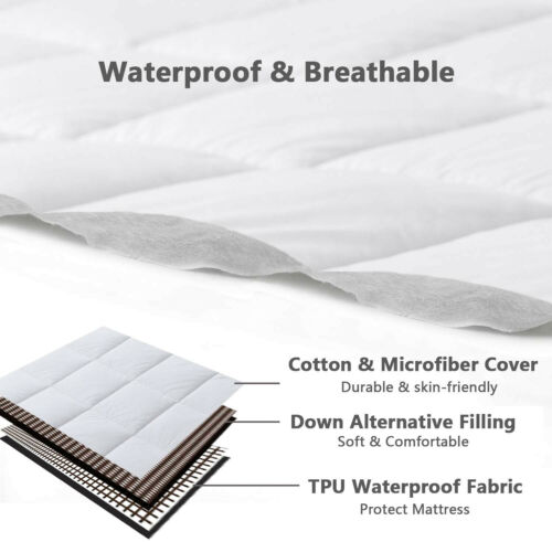 Waterproof Matress Pad All Season Down Alternative Breathable Mattress Topper