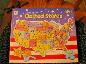 PUZZLE-1993-M-B-MAP-OF-THE-UNITED-STATES-HASBRO-84-PIECES-STATE-SHAPED-USED