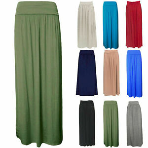 Womens-Plain-Fold-Over-Waist-Jersey-Gypsy-Ladies-Long-Maxi-Skirt-Plus-Size-8-26