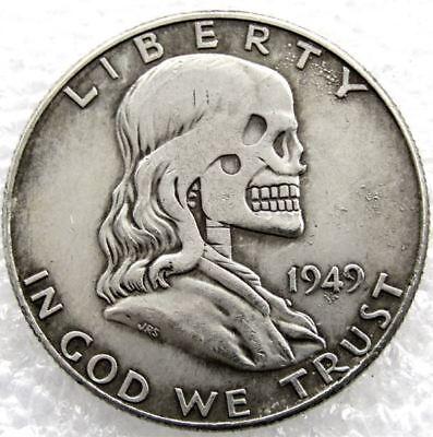 Hobo Creative 1949 Franklin Silver Half Dollar skull zombie skeleton hand  Dolar