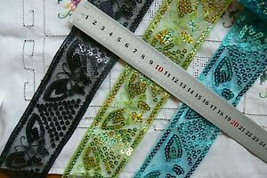 Butterfly-Sequins-Embroidery-Lace-Craft-Trim-55mm-wide-2-Mtr-3-Colour-Choice-L