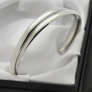 Vintage-Plain-Solid-925-Sterling-Silver-Double-Band-Design-Cuff-Bracelet