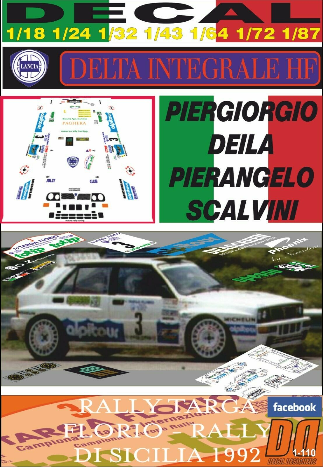 DECAL LANCIA DELTA HF INTEGRALE P. P. P. DEILA TARGA FLORIO 1992 WINNER (03) fdec18