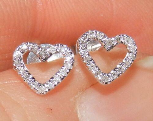 18CT 0.08CT Diamante Corazón Pendientes Racimo Broche de oro blanco de 18 quilates