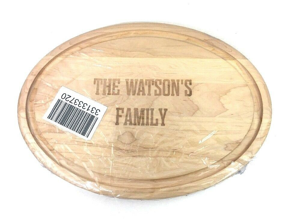 Maple Carving Board ovale JK Adams Mark & Graham gravé le WATSON'S FAMILY