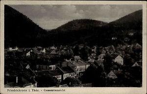 Friedrichroda-Thueringen-DDR-Ansichtskarte-Gesamtansicht-ueber-die-Stadt-Wald