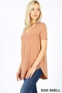 Zenana RELAXED FIT T-Shirt Short Sleeve V Neck Tunic Top Dolphin Hem S M L XL