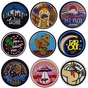 Popular Round Sew Iron On Patch Badge Transfer Fabric Jeans Applique Embroidered
