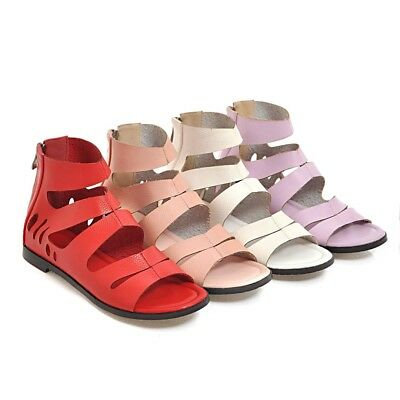 Women's Open Toe Flat Shoes Cutout Synthetic Leather Zip Up Sandals US Size S416 | eBay
