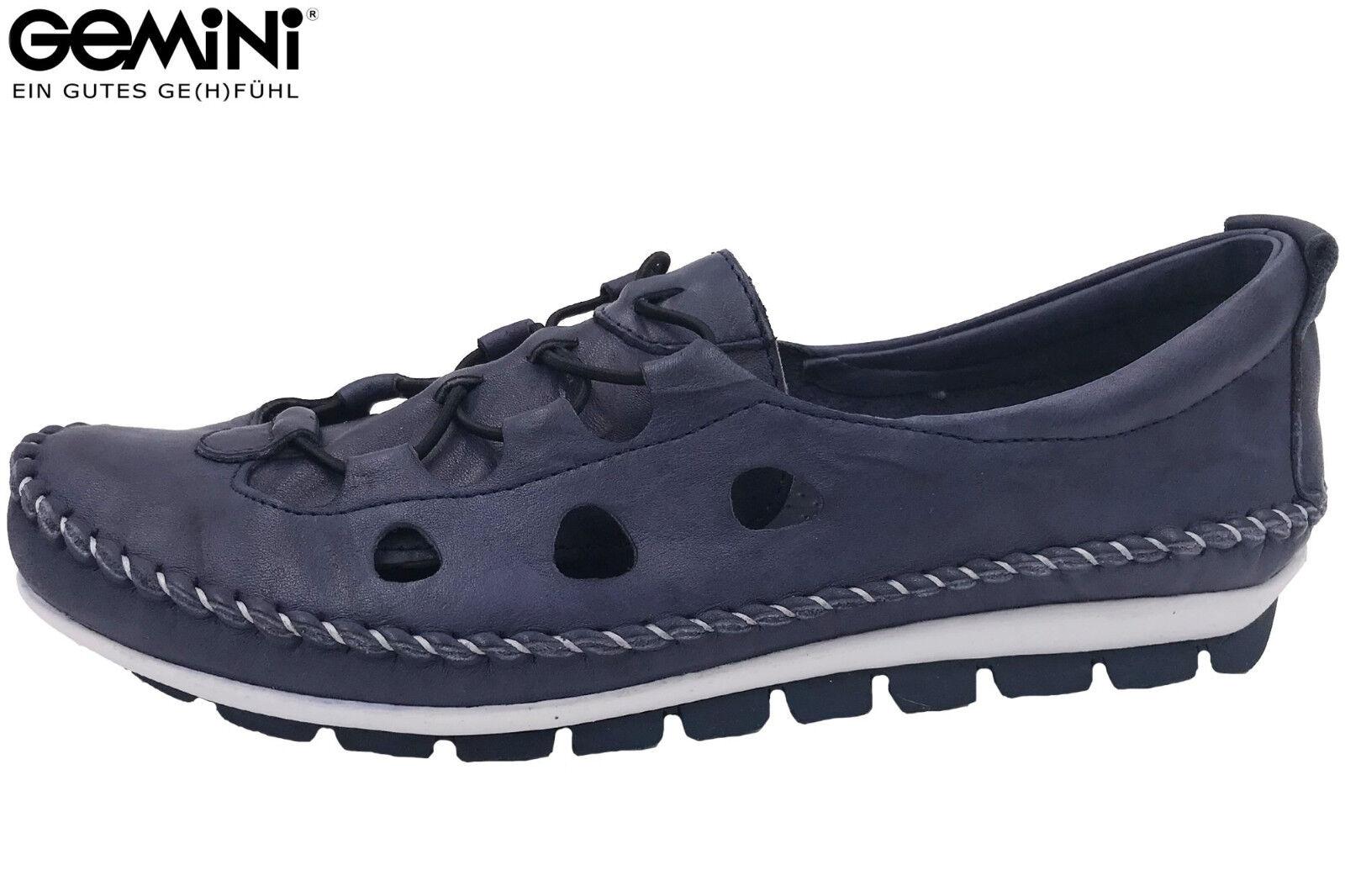 Gemini Damen Slipper Dunkel Blau Sommer Schuhe Leder Ballerina 3115-01-802 NEU