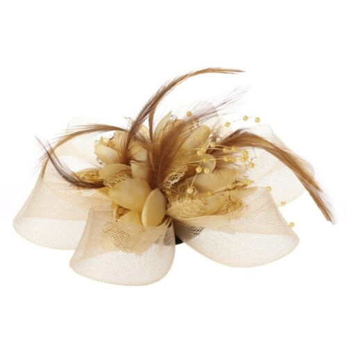 Womens Flower Feather Beads Mesh Corsage Hair Clips Fascinator Bridal Hairband