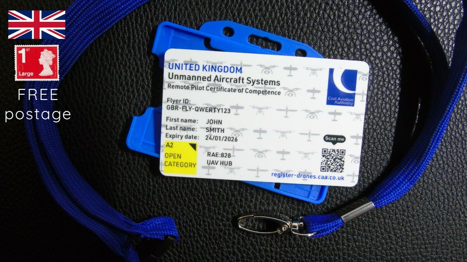 CAA Drone Regulatory ID card for A2 C of C qualification holders with lanyard