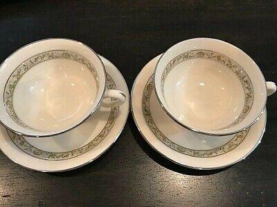 Beautiful Design with Platinum Trim Vintage Lenox Springdale Set of 4 Tea or Coffee Cups and Saucers
