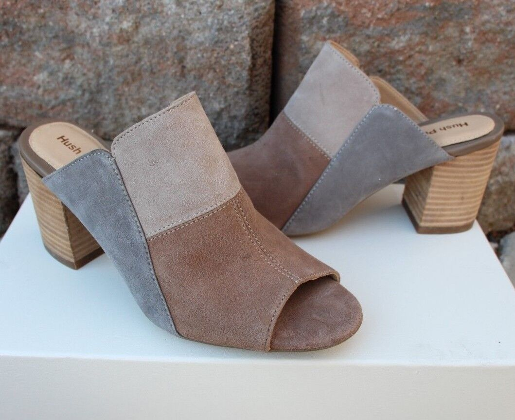 Hush Puppie Suede Block Heel Sandals Mules color patch design Sz 9.5