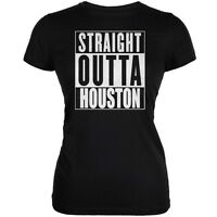 Straight Outta Houston Black Juniors Soft T-Shirt