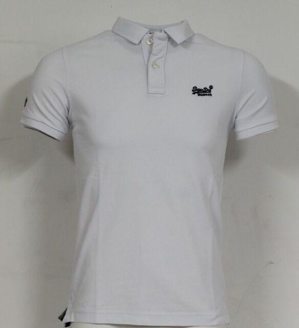 3e5f3a9ed Mens Superdry Classic Short Sleeve Pique Polo Shirt T-Shirt Optic White