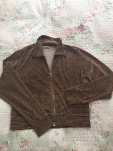 Luxurious-PAUL-SMITH-stripy-Velour-Zip-Up-Top-size-XL-16-Chest-44in-Brown-Cream