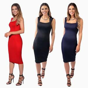 Womens-Pencil-Midi-Bodycon-Dress-Square-Neck-Panelled-Sexy-Zip-Party-Evening