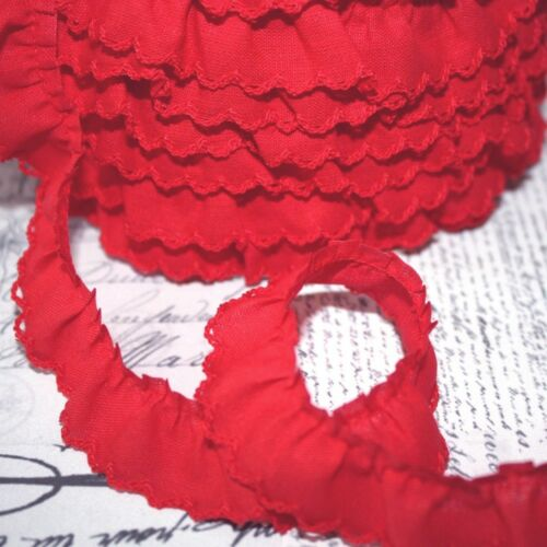 Gathered Scalloped Edge Trim Cotton Fabric Red 46