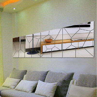 Removable 7Pcs Moire Pattern Mirror Decal Art Mural Wall Sticker DIY Home Decor
