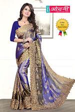 Indian Bollywood Embroidered Sari Navy Blue Satin Chiffon Party Wear Saree Sari