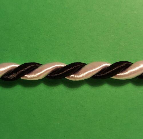 10 t L:5m B:9mm 0,99EUR//m Borte Kordel Brokatborte Posamentenborte Schwarz weiss